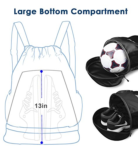 YOULERBU Gym Drawstring Bag, Sports Backpack With Shoe Compartment, Swim Bag With Wet Dry Compartments for Women Men by YOULERBU (Image #2)