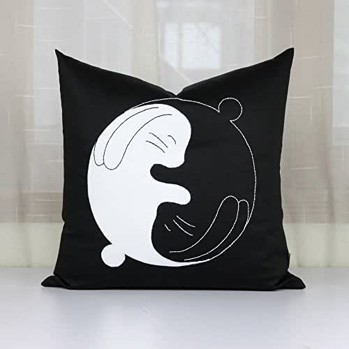 Amazon Com Yin Yang Rabbit Cushion Cover Black Pillowcase
