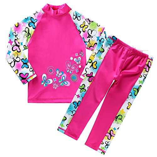 BAOHULU Girls Swimsuit UPF 50+ UV Protective 3-12 Years (3-4Y(Tag.No 4A), ButterflyLong)