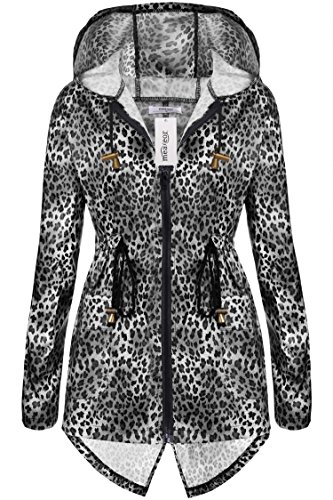 Meaneor Women's Waterproof Raincoat Outdoor Hooded Rain Jacket Leopard_Black XL (Leopard Raincoat)