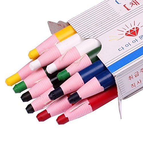 Diamond Peel-Off China Markers,Glass, Cellophane, Vinyl,Metal, Skin, Etc.Assorted - Pack of 12 (Color Mix - 2×6 Color)