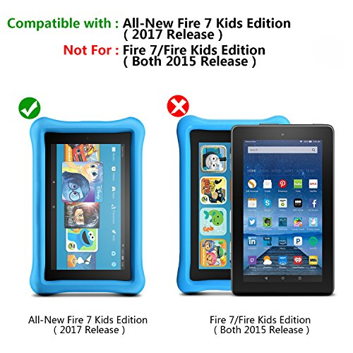 2017 All-New Fire 7 Kids Edition Screen Protector, SPARIN Tempered Glass for All-New Fire 7 Kids Edition Tablet (7th Gen, 2017 Release) with Bubble Free / Scratch Resistant / HD Clear
