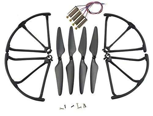 Upgrade Motors Main Blade Propellers Propeller Guard Protectors for Hubsan H502E H502S Drone Replacement CCW CW with Metal Gear RC Quadcopter Spare Parts Set (Black) (Brass Propeller Blade 4)