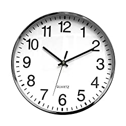 Tempus Contemporary Metal Wall Clock with Embossed Numbers and Silent Sweep Quiet Movement, 12, Chrome