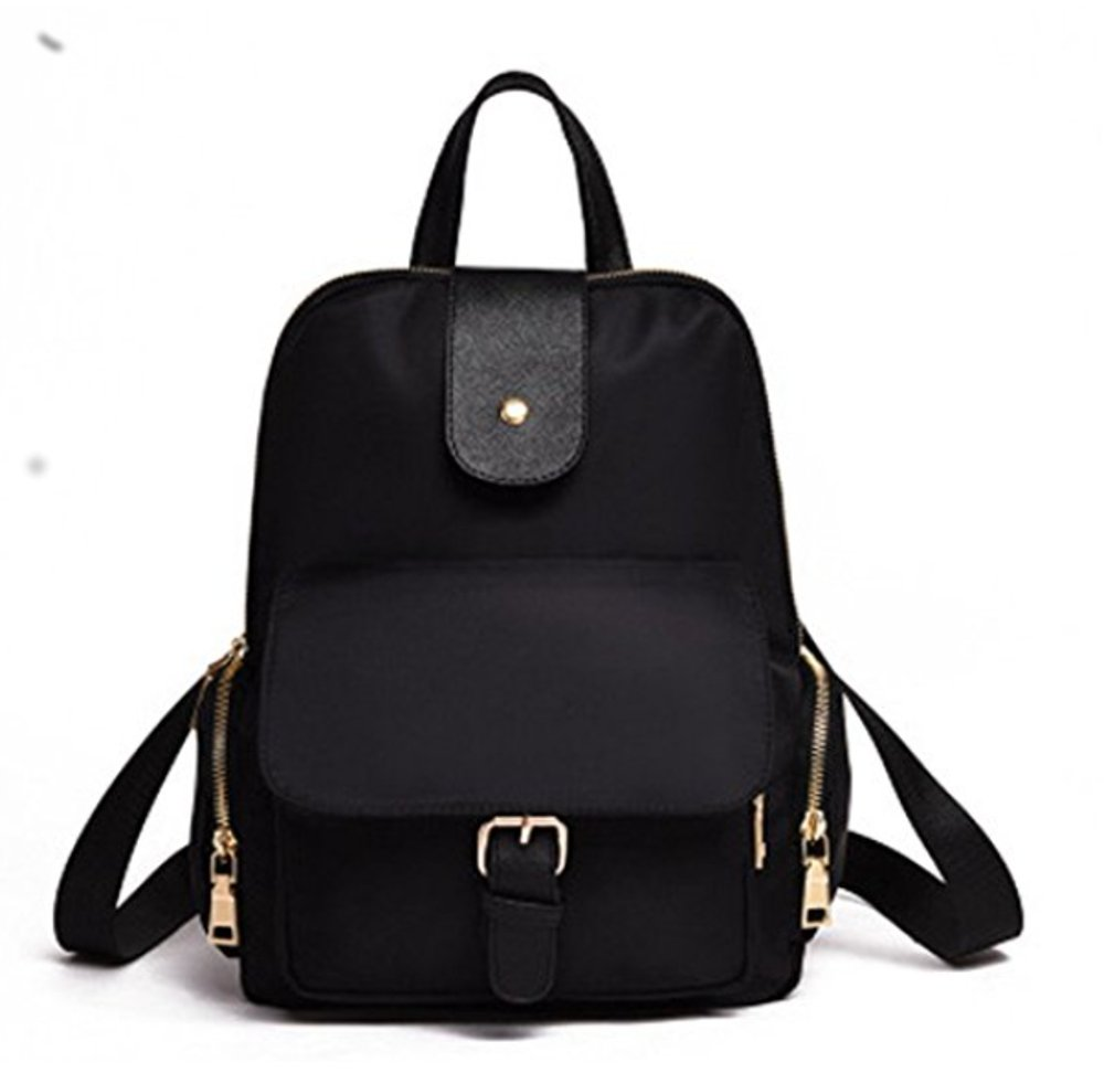 babyz Cute Small Nylon Backpack Women & Girls Travel Casual day pack school bag purse (black)