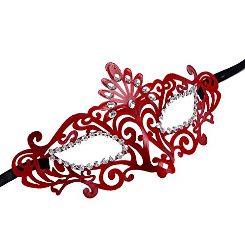 DDLBiz Fashion Venetian Hollow Masquerade Halloween Mask (Red) (Beauty Queen Fancy Dress)