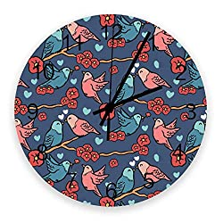 Wooden Round Wall Clock 12'' Silent Battery Operated Non Ticking Clock, Valentine's Day Birds Singing Love in The Branches Kiss Flower Noiseless Office Kitchen Bedroom Wall Clock Home Decor