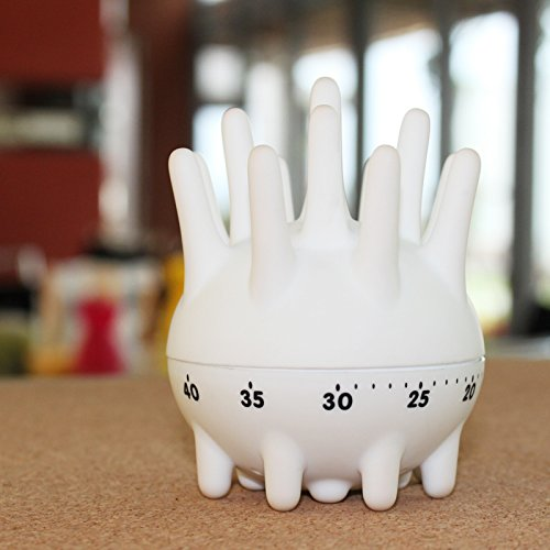 White Sea Urchin Kitchen Timer - 60 minutes Mechanical Cooking Timer - Cute Kitchen Timer, Small Manual Mechanical Animal Cook Timer for Cooking - by TrueFun (White)