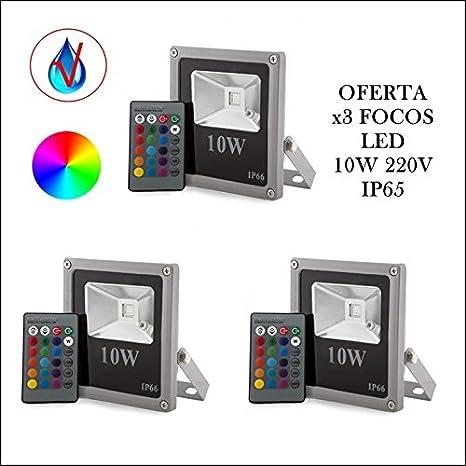 Oferta 3xFoco LED Proyector de exterior 10W RGB con mando de 24 ...