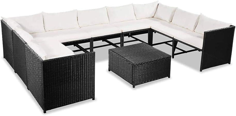 vidaXL Set Sofás de Jardín Ratán Sintético Negro Blanco Crema 30 Piezas Patio: Amazon.es: Hogar