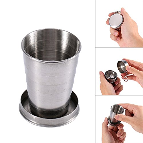 Ezyoutdoor 2 pcs Collapsible Cup Stainless Steel Portable Folding Metal Telescopic Keychain Folding Cups for excursion Outdoor Travel Camping Picnic Backpacking Outing Hiking Backpacking 140ml