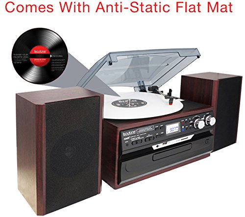 8-in-1 Boytone BT-24DJM Turntable with Bluetooth Connection, 3 Speed 33, 45, 78 Rpm, CD, Cassette Player AM, FM USB, SD Slot, Aux, Encoding Vinyl & Radio & Cassette To-MP3, Remote control. by Boytone (Image #1)