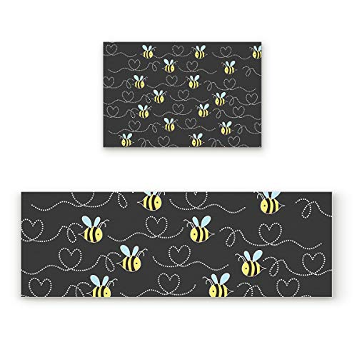 (Z&L Home Cute Honeybee Kitchen Rug Sets 2 Piece Non-Slip Kitchen Mats and Rugs Bee and Love Heart Gray Decorative Area Runner Rubber Backing Carpets Floor Doormat)