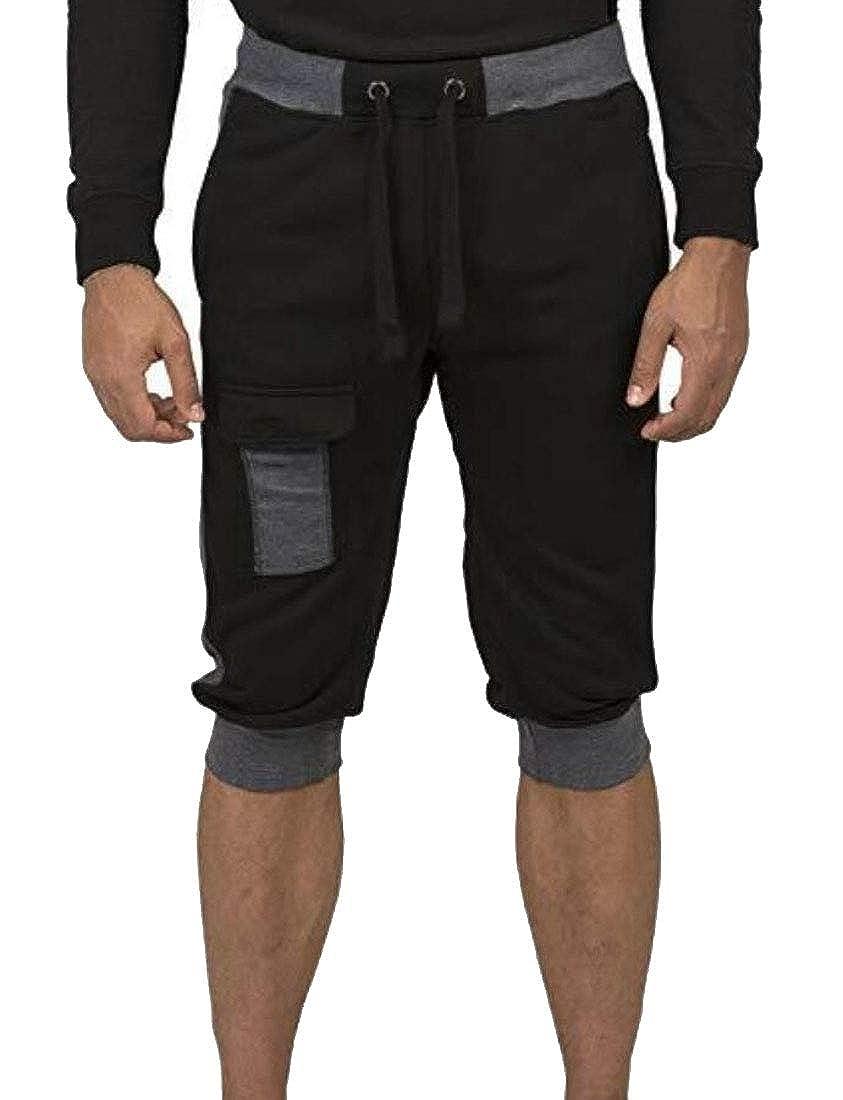 desolateness Men Elastic Waist Color Contrast Sports Patchwork Pants Beach Shorts Pants