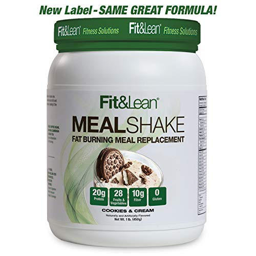 Fit & Lean Fat Burning Meal Replacement, Cookies & Cream, 1 lb (Best Rated Meal Replacement Shakes)