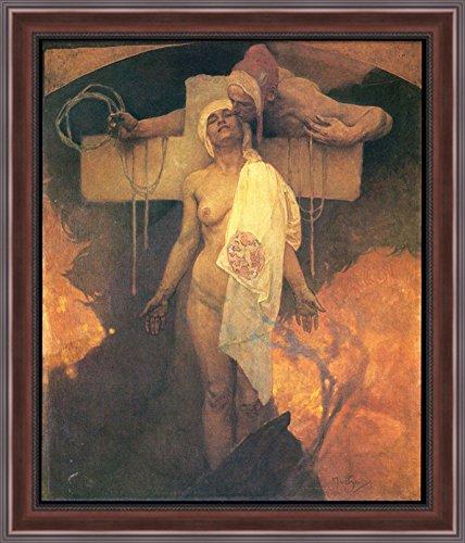 France Embraces Bohemia 28x32 Large Walnut Ornate Wood Framed Canvas Art by Alphonse (Bohemia Walnut)