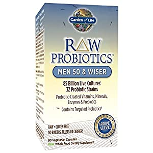 Garden of Life Whole Food Probiotic for Men - Raw Probiotics Men 50 & Wiser Dietary Supplement, 90 Vegetarian Capsules