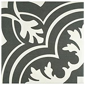 """SomerTile FRC8TWCL Fifties Ceramic Floor and Wall Tile, 7.75"""" x 7.75"""", White/Grey"""