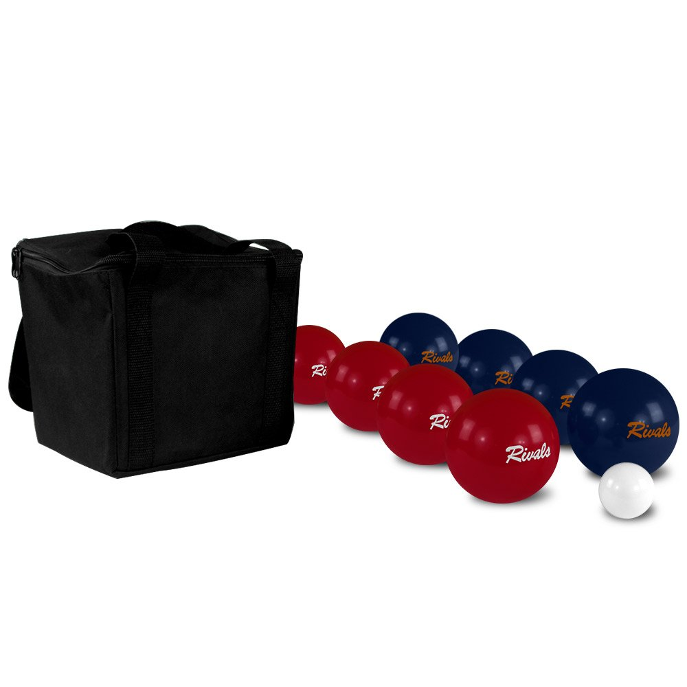 Rivals Bocce Ball Set Includes 4 Crimson and White Bocces Versus 4 Orange and Blue Bocces, 1 Pallino, Measuring Tape, and Carrying Case With Strap | Perfect For The College Fan and Game Day by Titan Performance Products (Image #5)