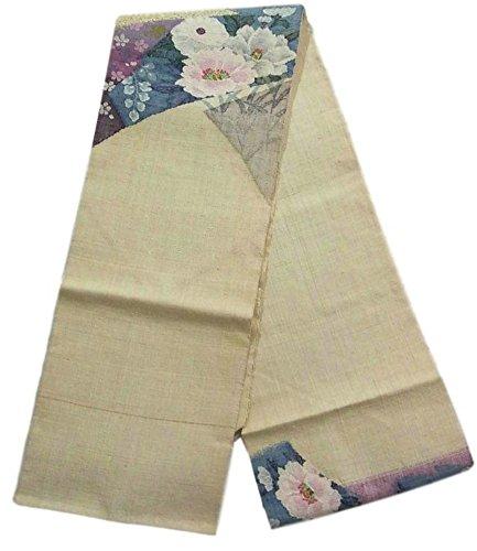 荷物踏み台考古学者リサイクル 名古屋帯  紬 裂取りに花々 正絹
