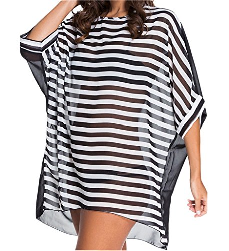 Eternatastic Women's Swimwear Tankini Oversized Cover-up Baggy Beach Dress M Striped (It Tankini Figures By)