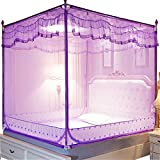 Mosquito net Bedroom Double Bed Insect-Proof Gauze Bills Children's Princess Wind Student Dormitory Summer Decoration Account, Purple, 1.2M