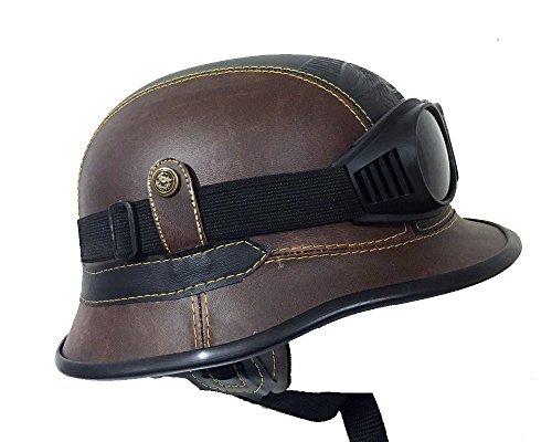 Harley Davidson Leather Helmet Brown/Black with Goggles - German half Helmets (Medium (M))