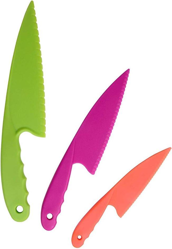YuamMei Juego de 3 Cuchillos de Cocina de plástico para niños, Cuchillos de Cocina de Nylon Seguros para niños para Cortar Pan, Lechuga para ensaladas (Color Aleatorio)