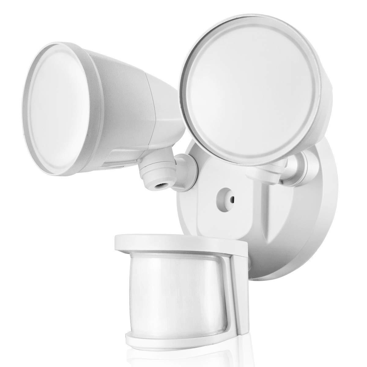 STASUN 32W LED Strahler mit einstellbarem Bewegungsmelder, 2200LM superhell LED Fluter, 5000K Tageslichtweiß, IP65 Wasserdichtes Flutlicht, Runder Kopf [Energieklasse A+] 5000K Tageslichtweiß