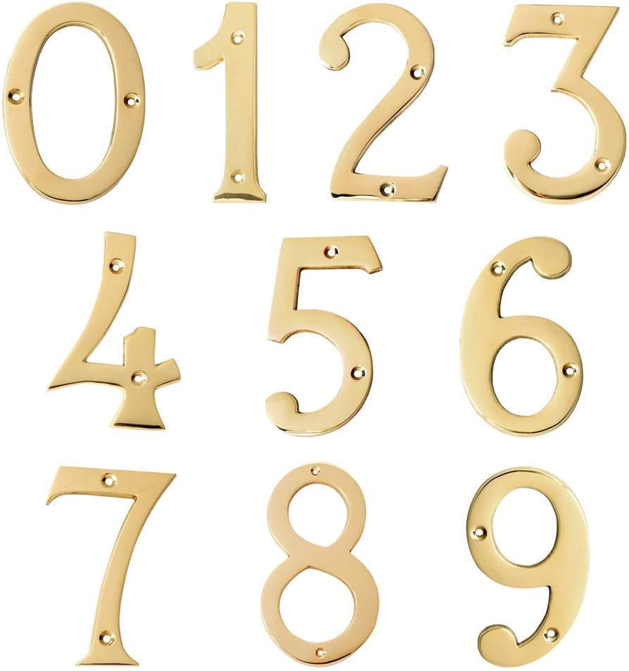 A10SHOP Motif Collection Solid 4-Inch Polished Brass Finish House Door Number Number 0