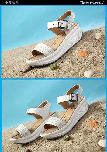SPEEDEVE Sandalias de Cuña Mujer Ultralight Sandalias de Plataforma Plateadas con Hebilla blanco