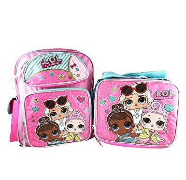 """Price comparison product image L.O.L Surprise! Small Backpack 12"""" & Lunch bag 2 pc set Pink School Bag Girls LOL"""