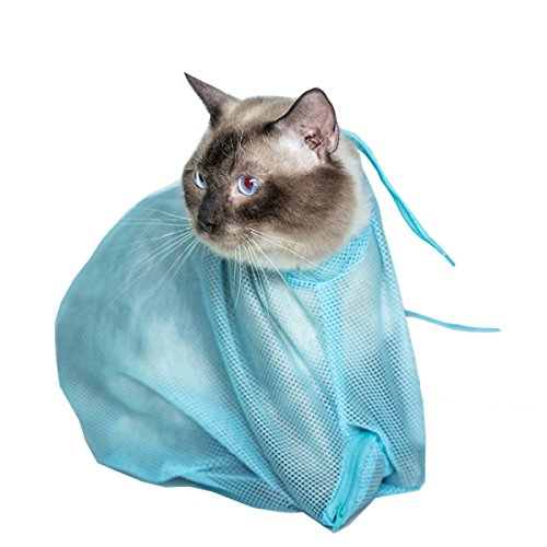 Caryko-Adjustable-Multifunctional-Polyester-Cat-Washing-Shower-Mesh-Bags-Pet-Nail-Trimming-Bags-Blue
