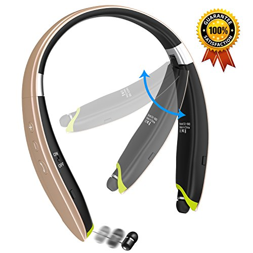 Newest Design Foldable Bluetooth Headset Senbowe™ Upgrade Wireless Neckband Bluetooth Headset with Retractable Earbud and Foldable Design for iPhone Android Other Bluetooth Enabled Devices