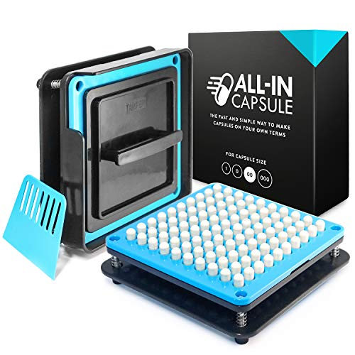 ALL-IN Capsule Filling Machine for Size 00 - Make Your Own Capsules Now Easier and Faster - Use With Empty Gelatin or Vegetarian Caps - Clear Illustrated Instructions With -
