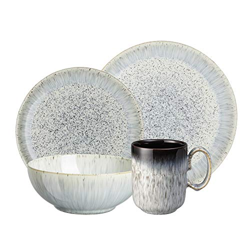 Denby USA 16 Piece Halo Kitchen Breakfast Collection Set, Speckle