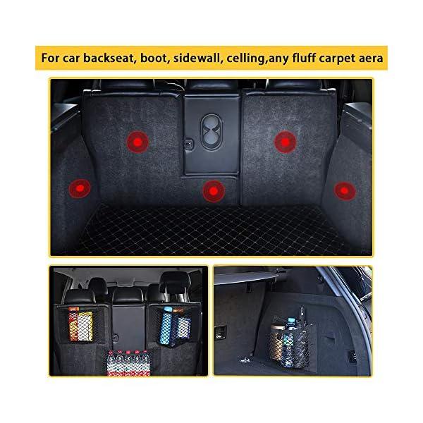 51%2BdvLk8lXL NETUME Netztasche Auto Kofferraum Organizer Klett, 2 Stück Elastische Kofferraumtasche Netz Rücksitztasche Auto für…