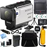 Sony FDR-X3000R 4K Action Camera with Live View Remote + 32GB Memory Card & Accessory Bundle