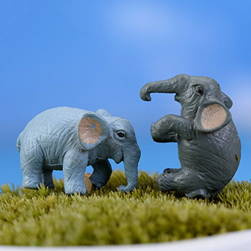 Miniature Elephant - 2 Pieces Miniature Crafts Mini Elephant Animal Resin Crafts For Fairy Garden Decoration Doll House Terrarium Decor Ornament Toys