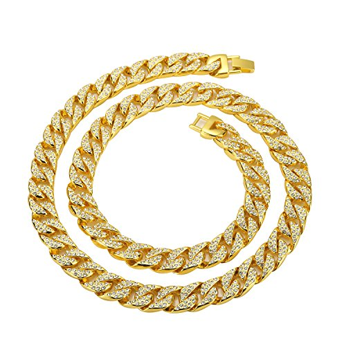Mens Link Gold 14k Cuban - Mandy Hip Hop Cuban Chains 14K Gold Plated CZ CRYSTAL Fully Iced-Out Link Miami Necklace (20)