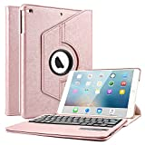 iPad 9.7 Keyboard Case, Boriyuan 360 Degree Rotating Stand PU Leather Smart Cover