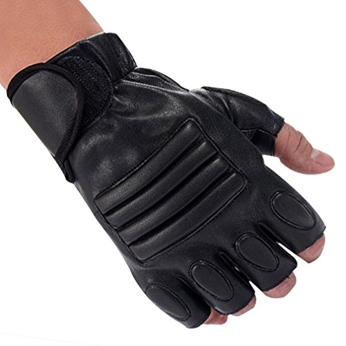 Tactical Gloves, ADiPROD (1 Pair) Leather Half Finger for Biking MMA Outdoor Shooting Army Airsoft Training