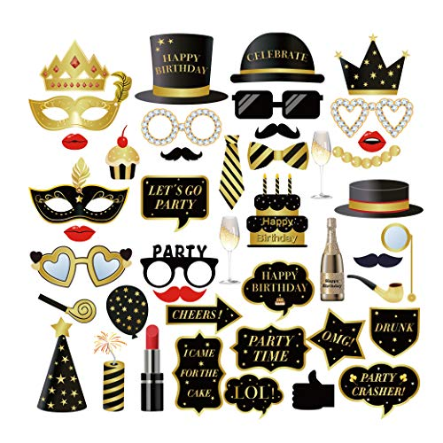 (CC HOME Birthday Party Photo Booth Props ,Gold Black Birthday Party Decorations ,Mix of Hats, Lips, Mustaches, Crowns and More (44 pcs) - Durable and Vibrant - Perfect for Birthday)