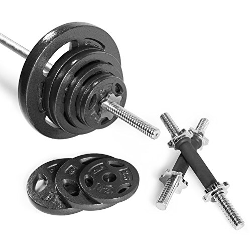 CAP Barbell RWSB-160T Regular Weight Set with 6' Threaded Standard bar, 160 lb