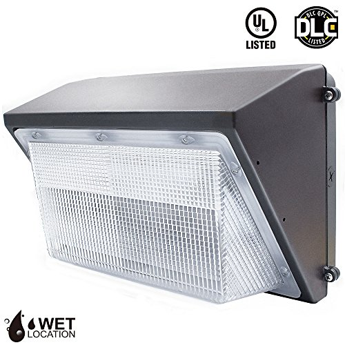 LeonLite LED 45W Wall Pack Light, UL Listed and DLC Qualified Outdoor Light Fixture, 250W MH/HPS/HID Replacement, 5000K Daylight 3920Lumens Wet Location Rated Security Light (5-Year Warranty)