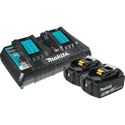 Makita BL1850B2DC2 5.0 Ah 18V LXT Lithium-Ion Battery and Dual Port Charger Starter Pack ()