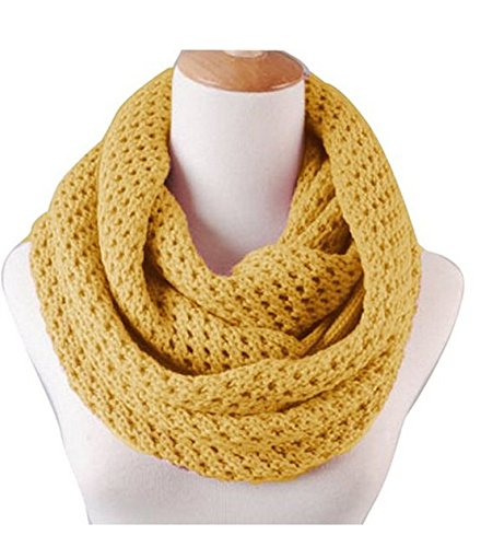 Solid Knitted Thicken Hollow Out Neckerchief Knit Infinity Loop Scarf Circle Scarf Winter Warm Scarves (Yellow)