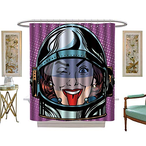 luvoluxhome Shower Curtains 3D Digital Printing Emoticon Tongue Emoji face Woman Astronaut Retro Bathroom Set with Hooks W69 x L84 ()
