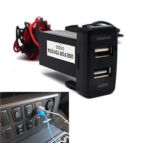 USB Socket Port with Audio Socket for TOYOTA Vigo Series - MOTONG Car USB Adapter for iPhone X/8/7/6/5, iPad, Samsung,LG,Huawei and More (USB Port+Audio)