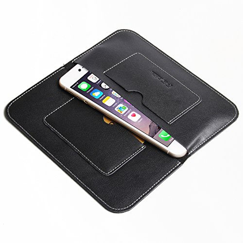 "Apple iPhone 6 Plus (5.5"") Simple Leather Wallet Case Protective Carrying Phone Case / Cover (Handmade Genuine Leather) WITH Card Holder (Type I) (Black) by Pdair"